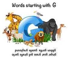 Ord som sträcker sig med bokstav G vektor