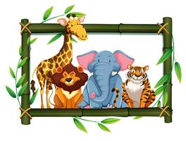 Safaritiere auf Bambusrahmen vektor