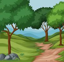 Vackert grönt naturlandskap vektor