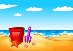 En strand vid stranden vektor