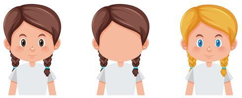 Set av flätor hår karaktär olika färg
