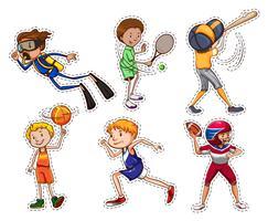 Sats av människor som gör olika sporter