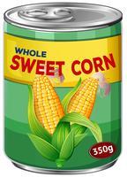 Eine Dose voller süßer Mais vektor