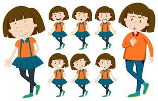 Mädchen mit kurzen Haaren in verschiedenen Aktionen vektor