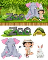 Safari tjej och djur djur