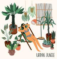 Stadsdjungel. Vektor illustration med krukväxter.