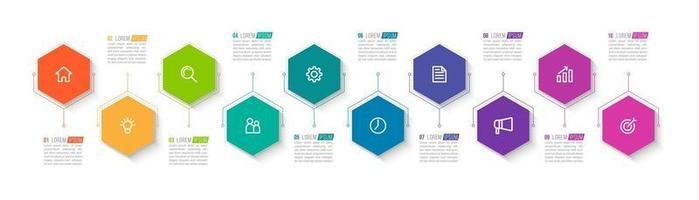 Infografik mit 10 Schritten für die Geschäftspräsentation vektor