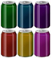 Aluminiumdosen in sechs verschiedenen Farben vektor
