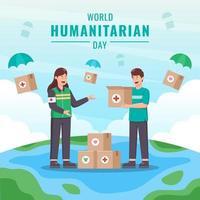 Menschen sammeln Spenden am Welttag der humanitären Hilfe vektor
