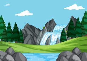 Ett vattenfall i naturlandskap
