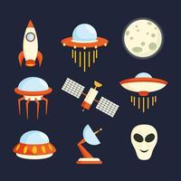Weltraum-UFO-Icon-Set vektor