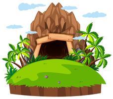 Gruva ingången på ön vektor