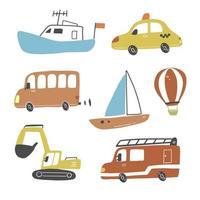 Set von Transporten im Kinderstil. Vektor-Illustration. vektor