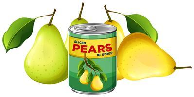 Fresh Pear och i Can vektor