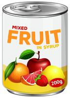 En burk blandad frukt i sirap vektor