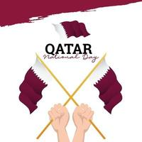 Katar Flagge. Feierlichkeiten zum Unabhängigkeitstag. Banner-Vorlage. vektor