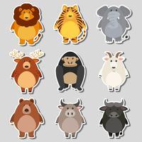 Klistermärke satt med vilda djur på grå bakgrund vektor