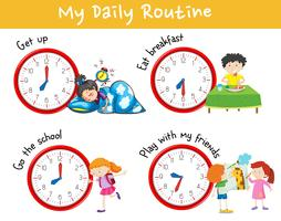 Aktivitetsdiagram som visar olika dagliga rutiner för barnen vektor