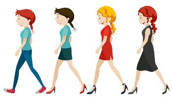 Kvinnor går på vit bakgrund