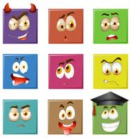 Gesichtsausdrücke auf Quadraten vektor