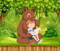 En pojke och björn i djungeln