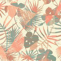 Seamless exotiskt mönster med tropiska växter och geometrisk bakgrund. vektor