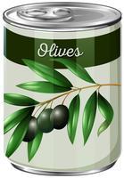 Eine Dose schwarze Oliven vektor