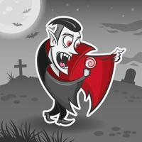 Vampir Dracula Zeichentrickfigur. Halloween-Aufkleber vektor
