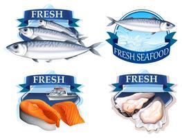 Etikettengestaltung mit Wort und Meeresfrüchten vektor