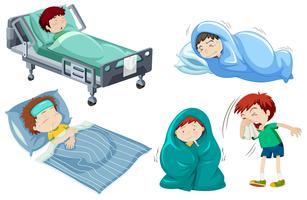Barnen är sjuka i sängen vektor