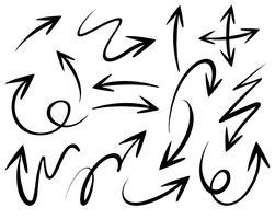 Kritzeleien von verschiedenen Pfeilspitzen vektor