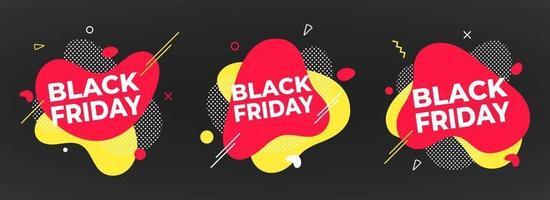 3 Black Friday Poster oder Banner Design Template Vector Illustration.