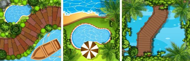 Drei Szenen mit Brücke und Teich vektor