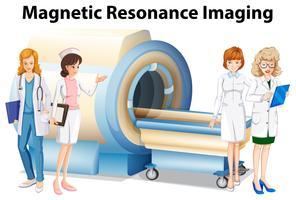 Krankenschwestern und Ärzte durch die Magnetresonanztomographie vektor