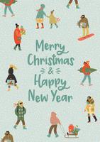 Jul och gott nytt år illustration med människor. Trendig retrostil.