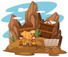 Ökenscenen med barn och kamel vektor