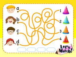 Spielvorlage mit passenden Kindern und Hüten vektor