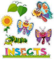 Aufkleber mit Schmetterlingen im Garten vektor