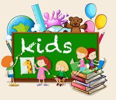 Barn som skriver och läser vektor