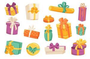 Geschenkboxen süße Aufkleber isoliert Set vektor