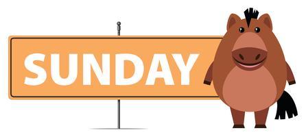 Pferd und Zeichen für Sonntag
