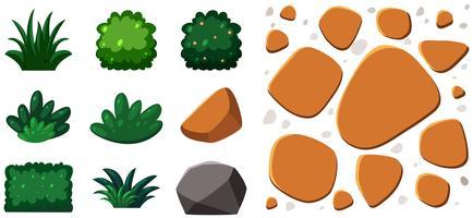 trädgårdselement stenar och växter vektor