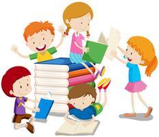 Pojkar och tjejer läser böcker
