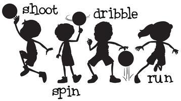 Sats med silhuett basket karaktär vektor