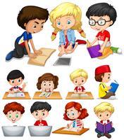 Pojkar och flickor läser och studerar vektor