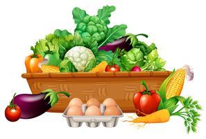 Olika grönsaker i en korg vektor