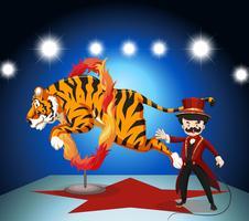 Tiger springt durch den Feuerring vektor