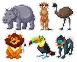Klistermärke med många djur vektor