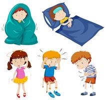 Eine Reihe von kranken Kindern vektor
