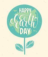 Tag der Erde-Konzept mit Beschriftung des Handabgehobenen betrages.
